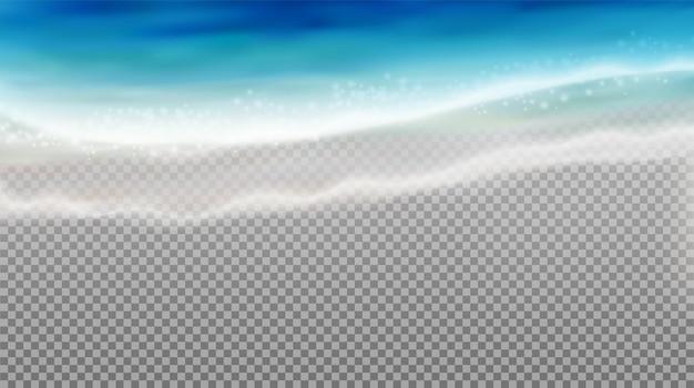 Fala realistyczna przezroczysta kompozycja z obrazem niebieskiej morskiej wody przybrzeżnej w pobliżu ścieżki przycinającej brzeg