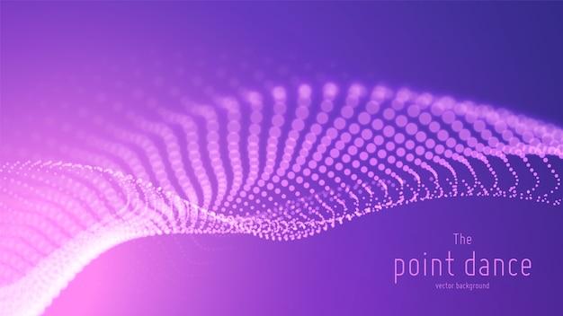 Fala wektor streszczenie fioletowych cząstek, tablica punktów, płytka głębia ostrości. futurystyczna ilustracja. technologia cyfrowy plusk lub eksplozja punktów danych. fala tańca punktowego. cyber ui, element hud.
