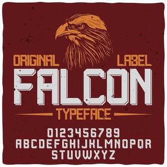 Falcon czerwona etykieta z krojem pisma