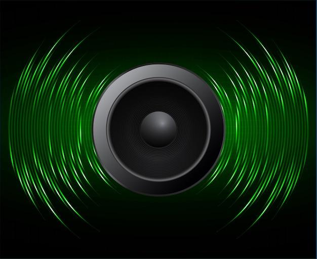 Fale dźwiękowe głośnika oscylujące ciemnozielone światło