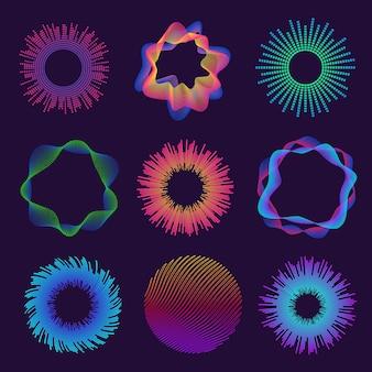 Fale dźwiękowe koła. neonowa okrągła fala dźwiękowa do korektora. streszczenie promieniowe cząstki tętnienia dźwięku. świecąca linia okrągła fala wektor zestaw. muzyka dźwiękowa, ilustracja elektroniczna korektora dźwięku fali