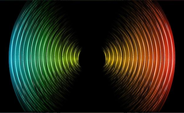 Fale dźwiękowe oscylują ciemnoczerwone, niebieskie, czarne światło