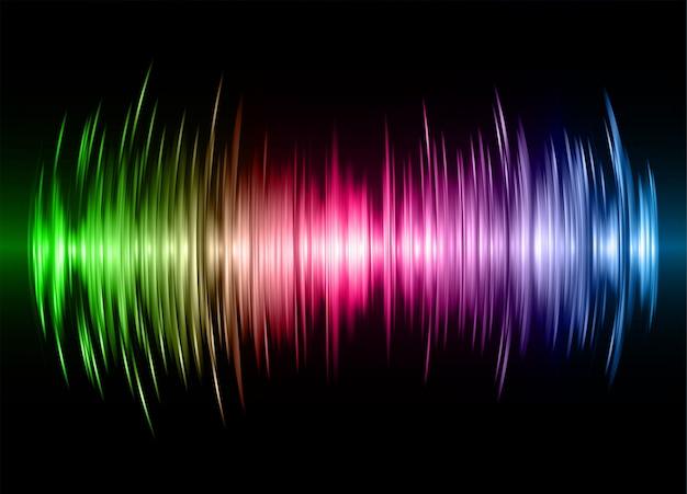 Fale dźwiękowe oscylują ciemnozielone różowe niebieskie światło