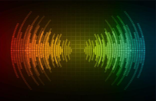 Fale dźwiękowe oscylują w ciemno czerwonym, zielonym, niebieskim świetle