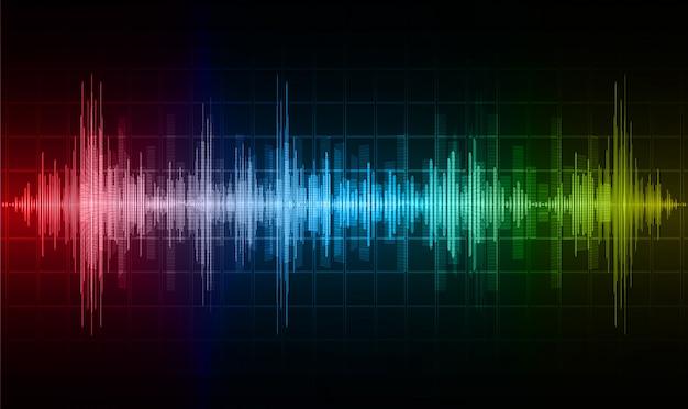 Fale dźwiękowe oscylują w ciemnoniebieskim czerwonym żółtym świetle
