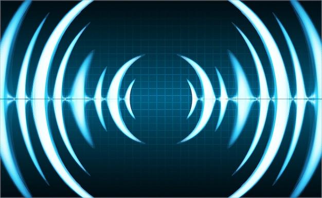 Fale dźwiękowe oscylują w ciemnoniebieskim świetle
