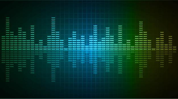 Fale dźwiękowe oscylują w ciemnoniebieskim zielonym żółtym świetle