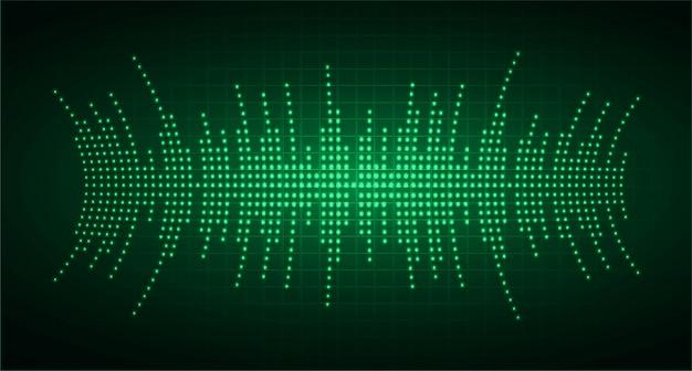 Fale dźwiękowe oscylują w ciemnozielonym świetle
