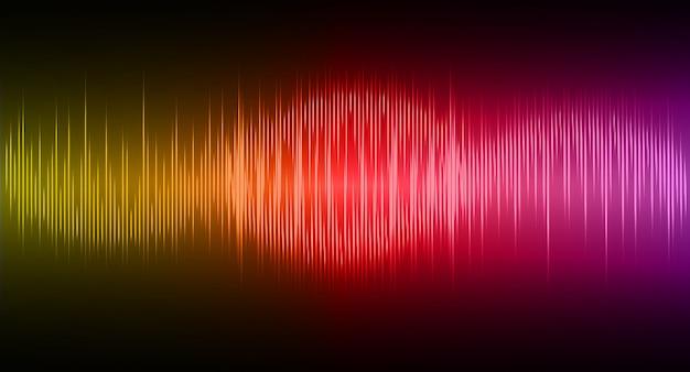 Fale dźwiękowe oscylują w ciemnożółtym czerwonym purpurowym świetle
