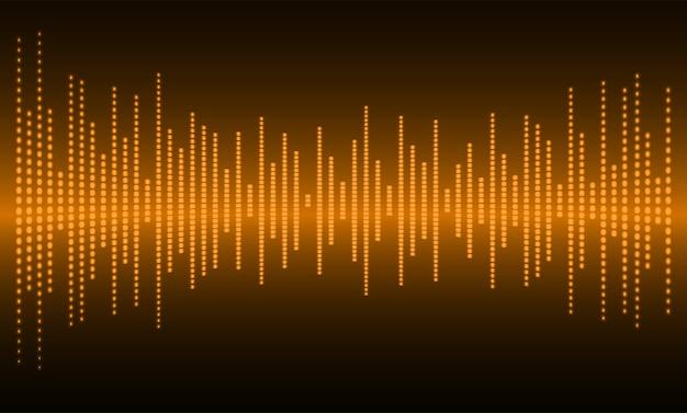 Fale dźwiękowe oscylujące ciemno pomarańczowe światło