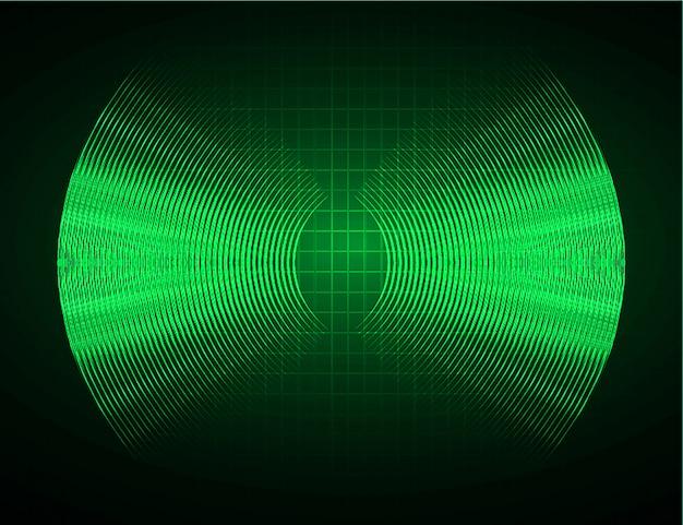 Fale dźwiękowe oscylujące na ciemnozielonym jasnym tle