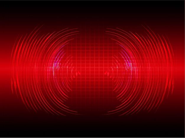Fale dźwiękowe oscylujące na tle ciemnego czerwonego światła