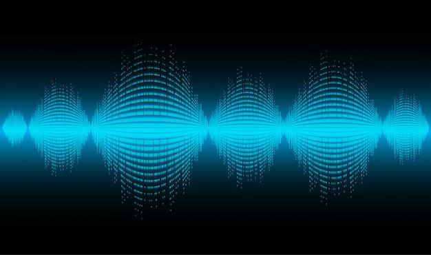 Fale dźwiękowe oscylujące w ciemnoniebieskim świetle