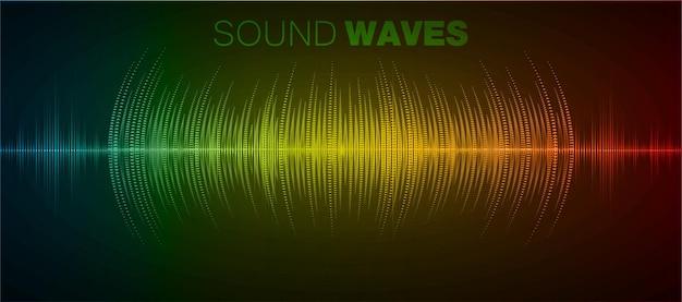 Fale dźwiękowe oscylujące w ciemności, muzyka, korektor radiowy, technologia dźwięku wektorowego głosu