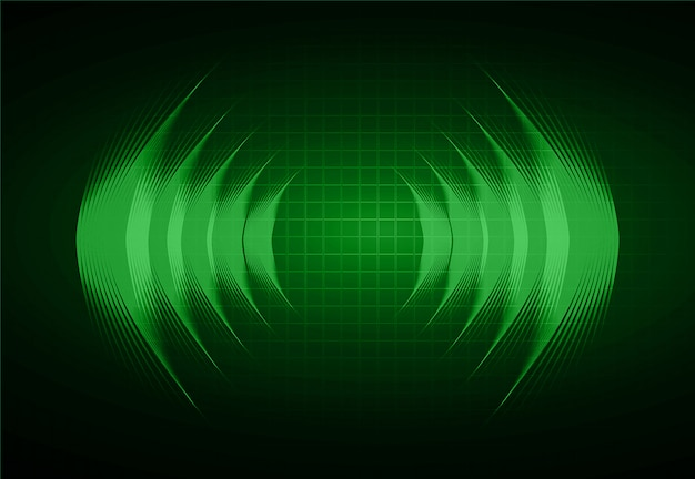 Fale dźwiękowe oscylujące w ciemnozielonym świetle