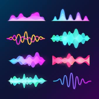 Fale dźwiękowe w jasnych kolorach na ciemnym tle