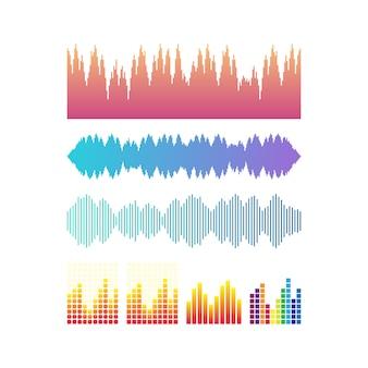 Fale dźwiękowe wektor zestaw. muzyczni kolorowi elementy twój projekt odizolowywający. ilustracji wektorowych.