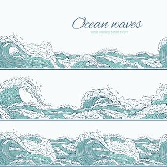 Fale morskie ocean wzór granicy. duże i małe lazurowe wybuchy rozpryskują się pianą i bąbelkami. zarys zestaw ilustracji szkicu