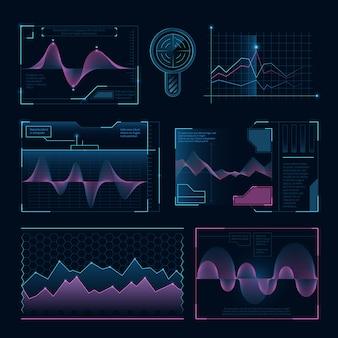 Fale muzyki cyfrowej, futurystyczne elementy hud dla interfejsu użytkownika
