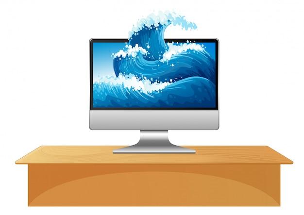 Fale oceanu na pulpicie komputera