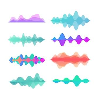 Fale ruchu w kolorze amplitudy. streszczenie muzyka elektroniczna dźwięk fali głosu wektor zestaw