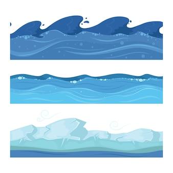 Fale w oceanie lub morzu. zestaw poziomych bezszwowych wzorów dla gier interfejsu użytkownika. fala wody oceanu lub morza ilustracja