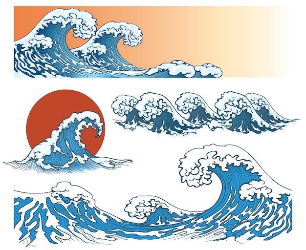 Fale w stylu japońskim. fala morska, plusk fali oceanu, fala sztormowa. ilustracji wektorowych