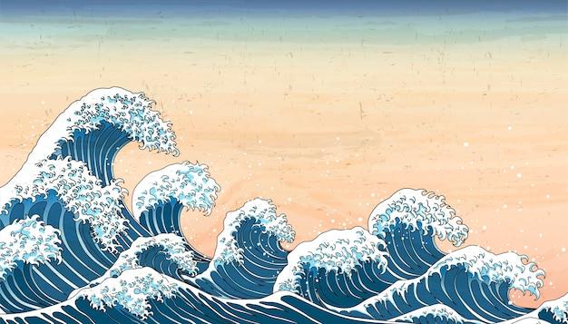 Fale w stylu retro japonii w stylu ukiyo-e