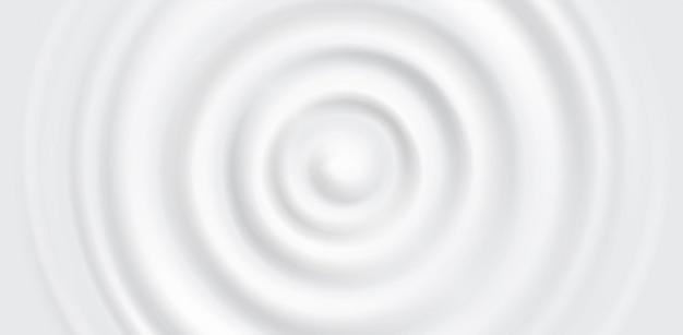 Falista, kołowa pulsacja cieczy. rozprysk spadającej kropli produktów mlecznych, kremów kosmetycznych. wirowa kropla mleka, widok z góry.