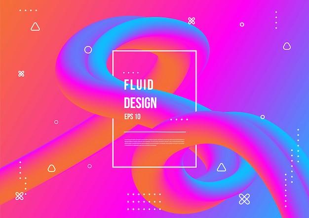Faliste geometryczne z płynnym wzorem tła. modna kompozycja kształtów gradientu