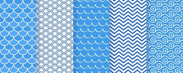Falisty wzór. morskie nadruki geometryczne.