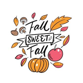 Fall sweet fall fraza kaligrafia nowoczesna