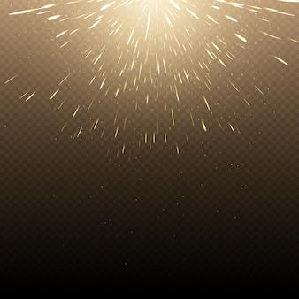 Falling hot fire świecące iskry tła. świeci światło jarzeniowe i gorące iskry jasne ilustracja