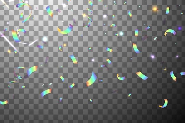 Falling shiny glitter rainbow konfetti z blaskiem słońca na białym tle. opalizujący tło. siatkowa holograficzna folia tło. holograficzne tło z efektem light glitch.
