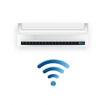 Falownik klimatyzatora typu split. system kontroli chłodnego i zimnego klimatu. realistyczne warunkowanie z kontrolą wifi przez internet. ilustracja