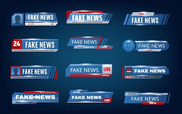 Fałszywe Bary Informacyjne I Dolne Banery Na Ekranie Telewizyjnym Premium Wektorów