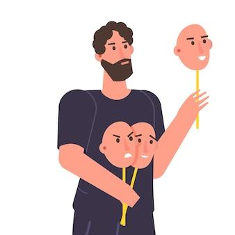 Fałszywe emocje, odgrywają rolę koncepcji. postać trzyma maski z różnymi emocjami. ilustracja wektorowa, płaski