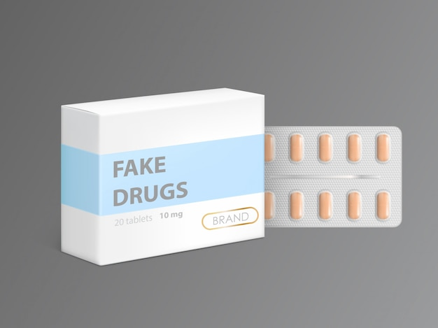 Fałszywe leki w kartonowym pudełku