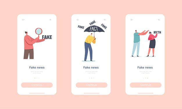Fałszywe wiadomości, plotki. szablon ekranu wbudowanego strony aplikacji mobilnej. postacie czytające gazety i informacje w mediach społecznościowych w internecie koncepcja wytwarzania fałszywych informacji. ilustracja wektorowa kreskówka ludzie