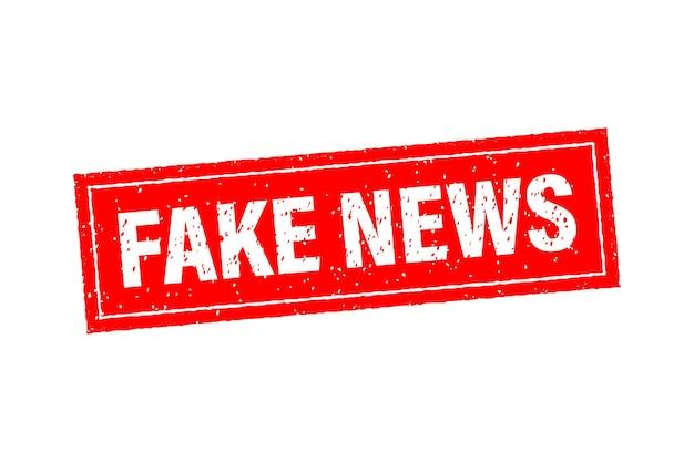 Fałszywy znaczek wiadomości w stylu płaskiej na białym