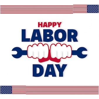 Falując amerykańskie flagi z typografią pracownik dzień pracy ręce trzyma klucz francuski 4 września stany zjednoczone ameryki dzień pracy amerykański dzień piękny projekt flagi usa dzień projektu plakatu roboczego białe tło