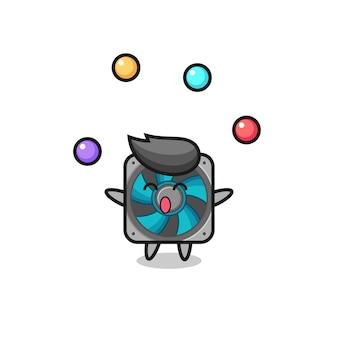 Fan komputera cyrk kreskówka żonglująca piłką, ładny styl na koszulkę, naklejkę, element logo