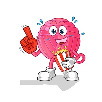 Fan piłki przędzy z ilustracją popcornu. postać