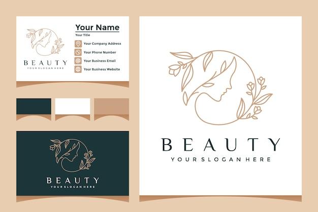 Fancy lady flower face z logo w stylu linii i wizytówką. do gabinetów kosmetycznych, masaży, spa i kosmetyków