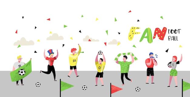 Fani piłki nożnej świętują plakat zwycięstwa