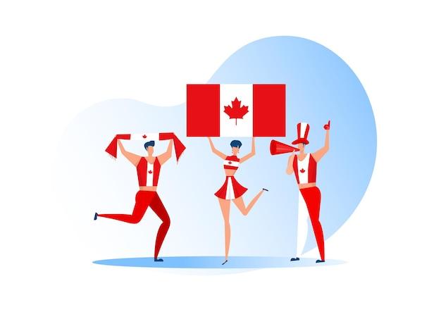 Fani sportu, kanadyjczycy świętują drużynę piłkarską. aktywny zespół wspiera symbol piłki nożnej i świętowanie zwycięstwa.