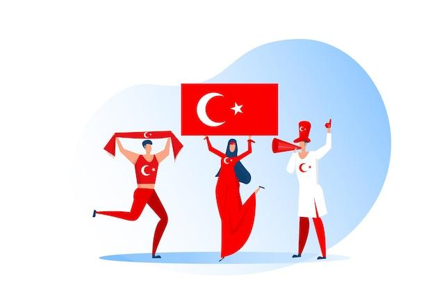 Fani sportu, turcy świętujący drużynę piłkarską. aktywny zespół wspiera symbol piłki nożnej i świętowanie zwycięstwa.