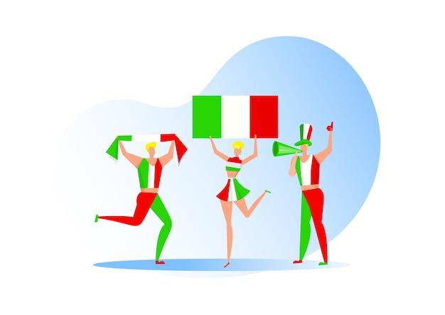 Fani sportu, włosi świętujący drużynę piłkarską. aktywny zespół wspiera symbol piłki nożnej i świętowanie zwycięstwa.