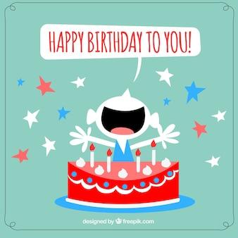 Fantastyczna kartka urodzinowa z gwiazdami i szczęśliwy chłopiec