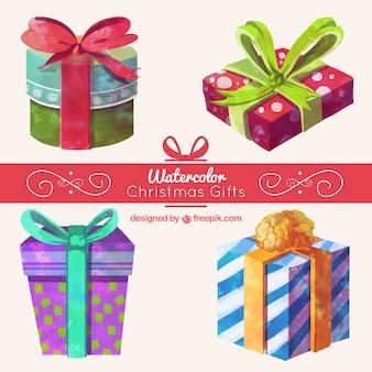 Fantastyczna kolekcja bożonarodzeniowych prezentów w stylu akwareli